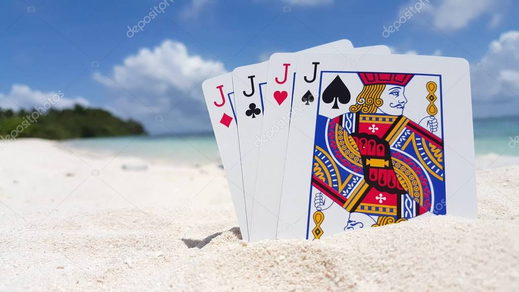 v01405 Maldives beautiful beach background white sandy tropical paradise island with blue sky sea water ocean 4k playing cards jacks