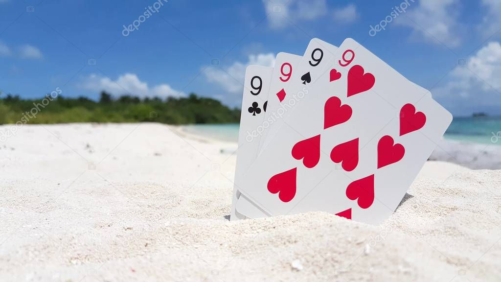 v01409 Maldives beautiful beach background white sandy tropical paradise island with blue sky sea water ocean 4k playing cards nines