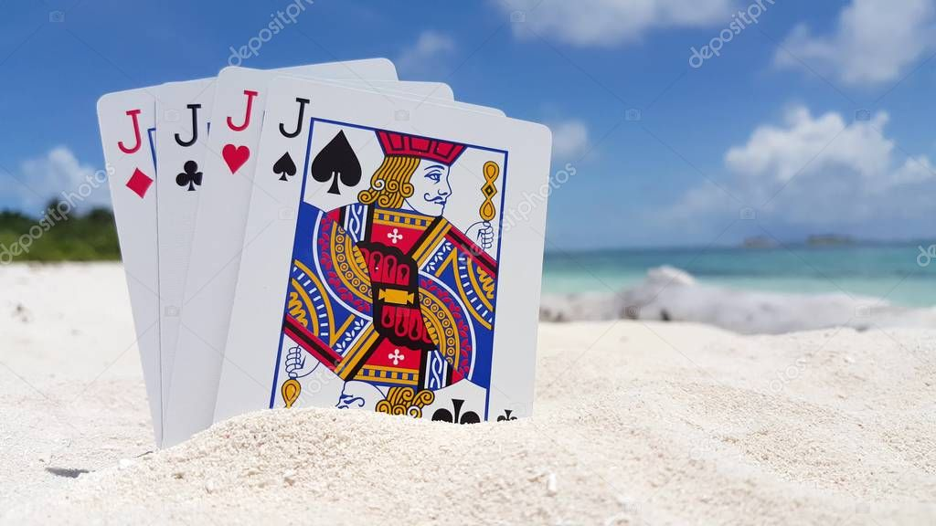 v01437 Maldives beautiful beach background white sandy tropical paradise island with blue sky sea water ocean 4k playing cards jacks