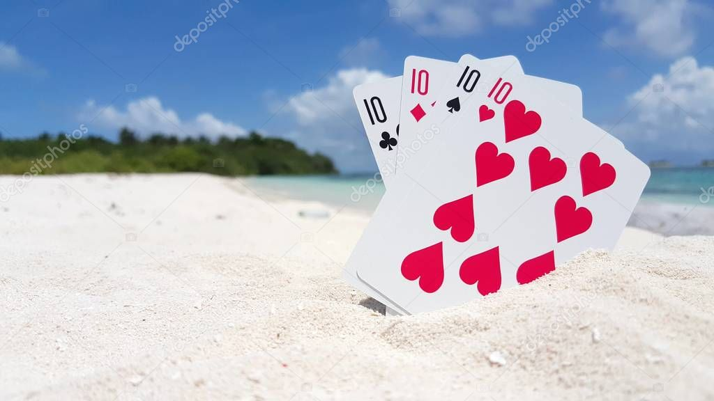 v01533 Maldives beautiful beach background white sandy tropical paradise island with blue sky sea water ocean 4k playing cards tens