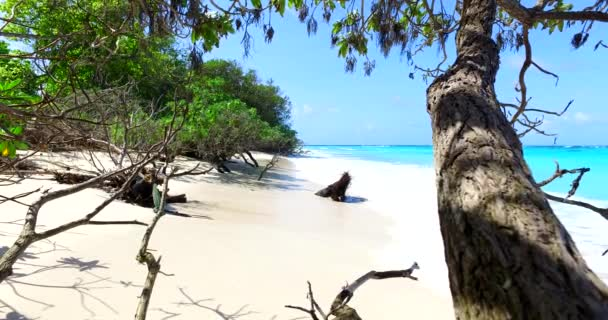 v00064 Maldív-szigetek gyönyörű strand háttér fehér homokos trópusi paradicsom sziget égszínkék tenger vizes óceánt 4k