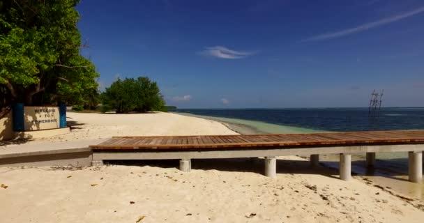 Maledivy krásné pláže pozadí bílé písečné tropický ráj ostrov s modrou oblohu moře vody oceánu 4k molu pier pontonu