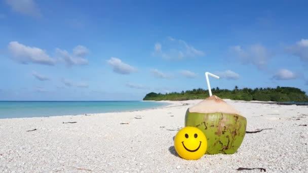 v00751 Maledivy krásné pláže pozadí bílé písečné tropický ráj ostrov s modrou oblohu moře vody oceán 4k Veselý obličej žluté míč kokosový nápoj