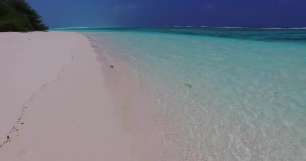 v07815 Maldives beautiful white sandy beach background on sunny tropical paradise island with aqua blue sky sea water ocean 4k
