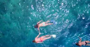 V11842 many people young boys girls snorkeling over coral reef with drone aerial flying view in crystal clear aqua blue shallow water