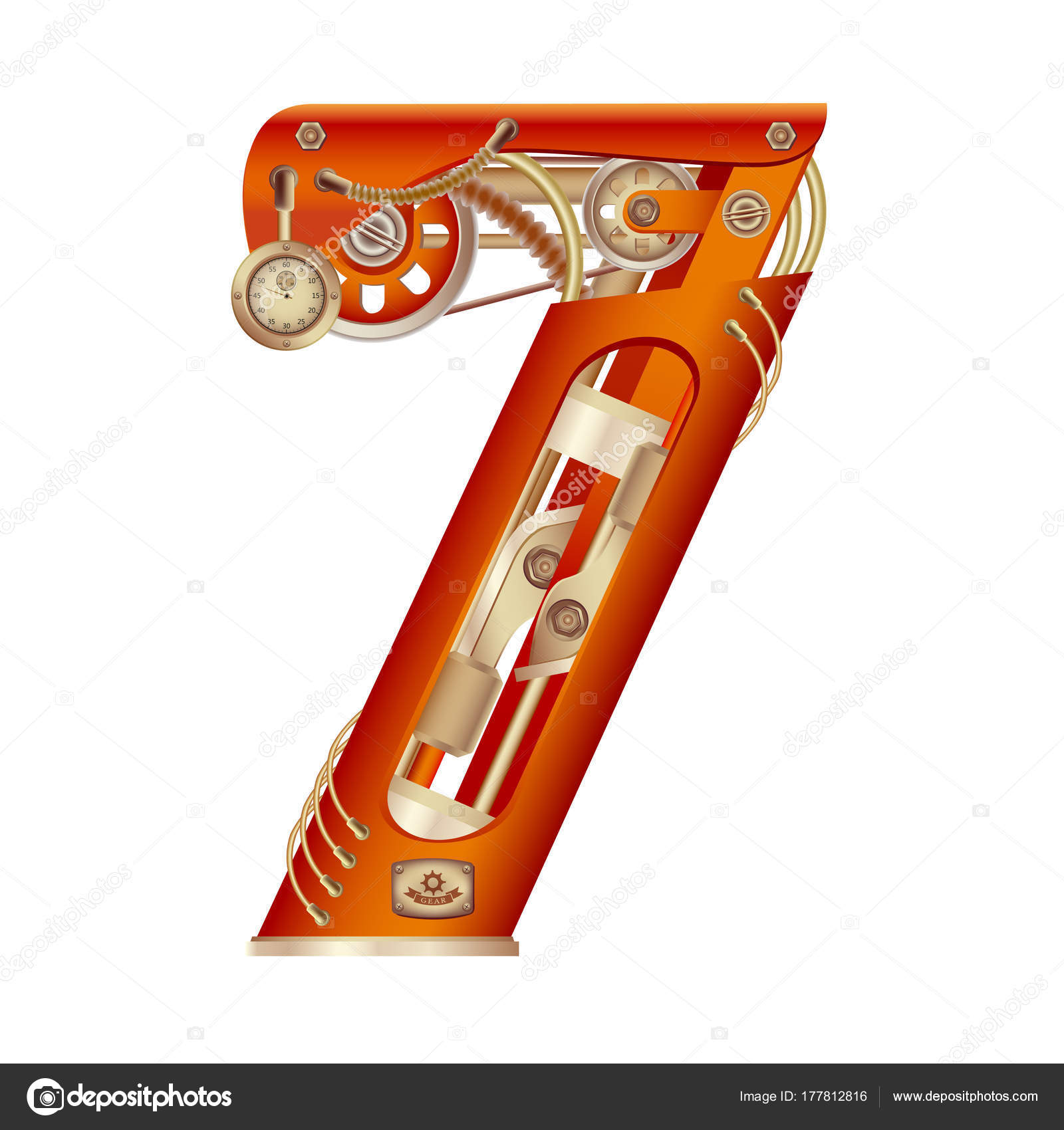 Arabic numeral 7, made in the form of a mechanism with