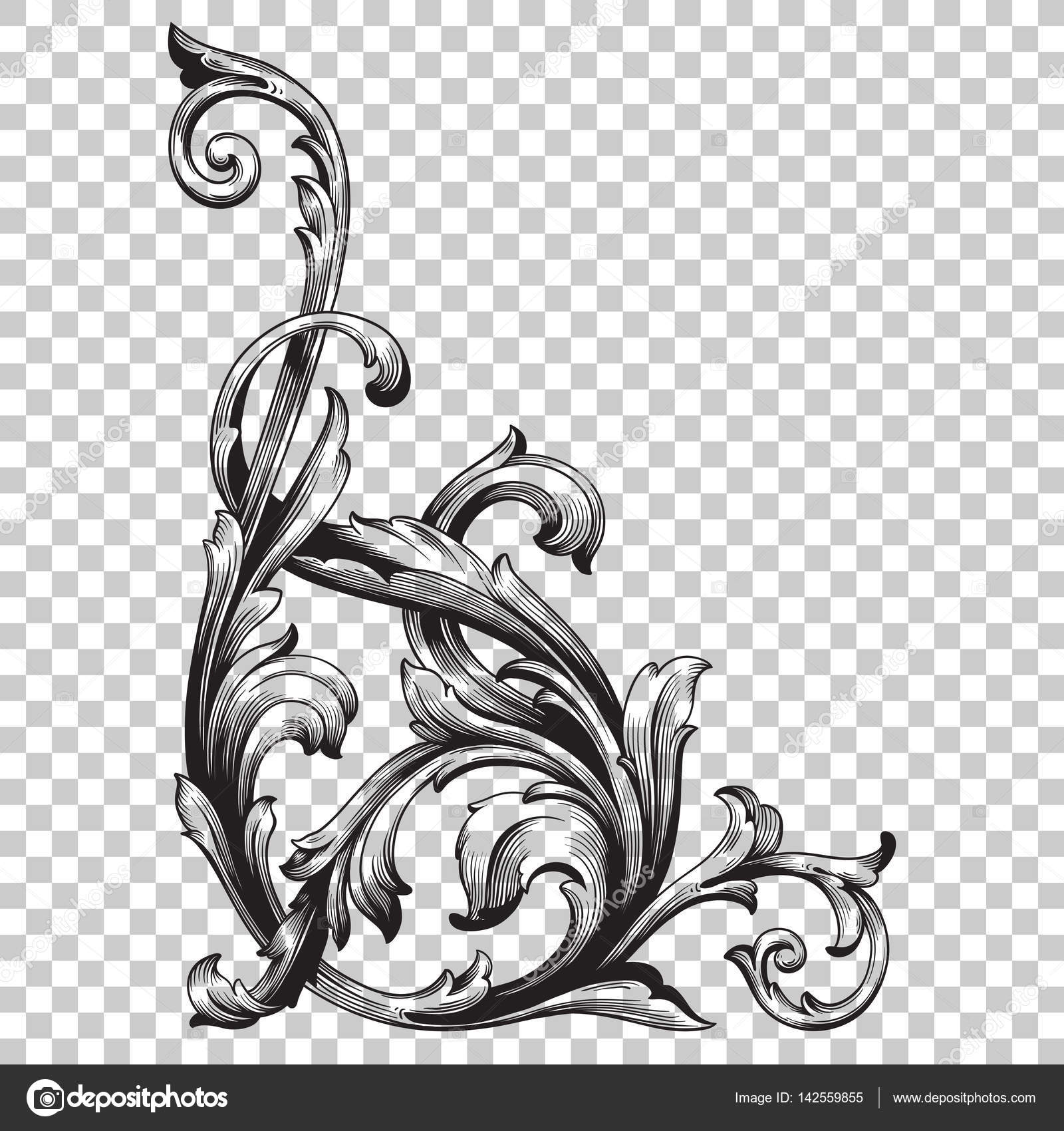 Corner baroque ornament decoration element. — Stock Vector ... Барокко Орнамент