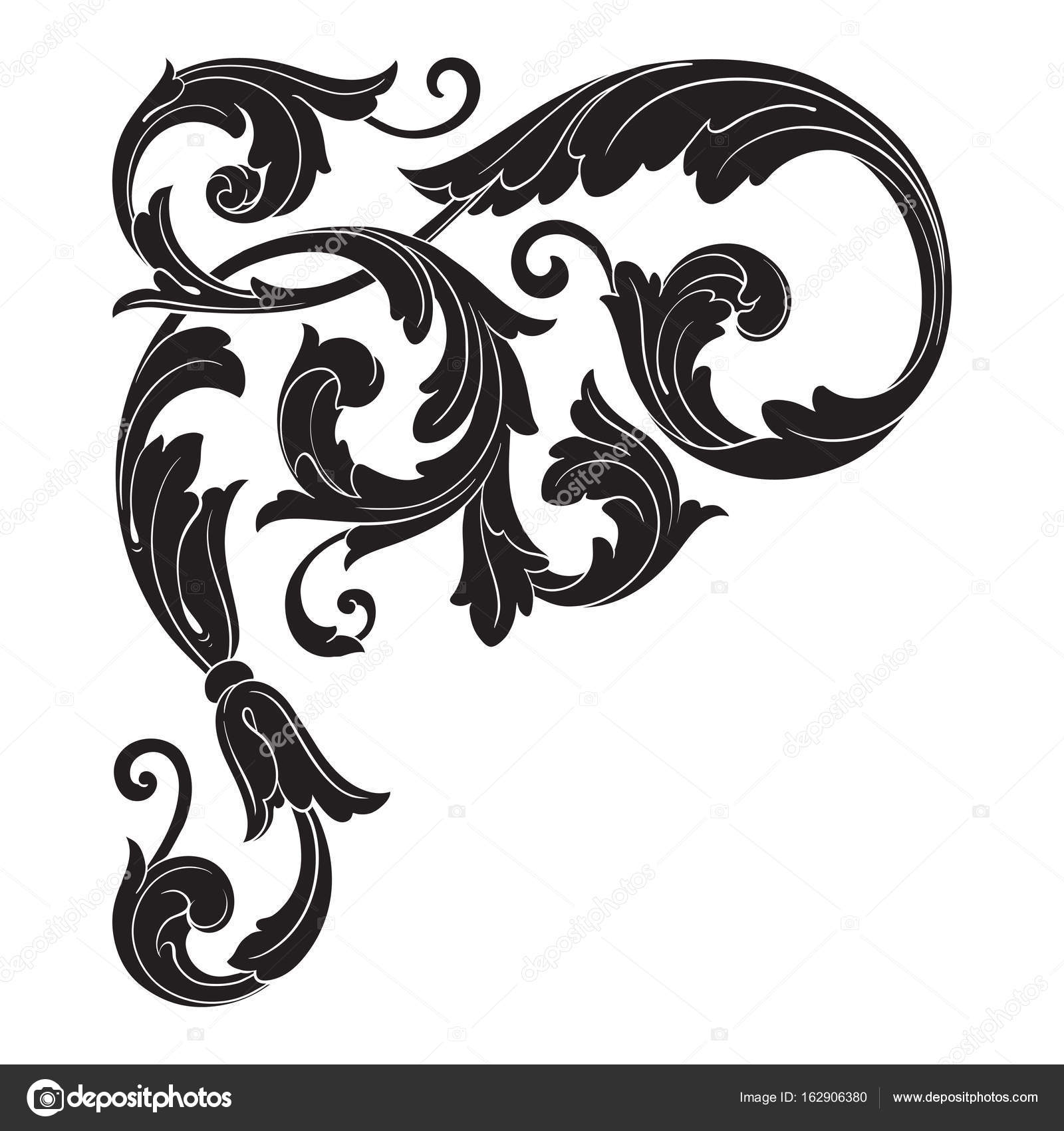 Vintage baroque ornament vector — Stock Vector © AcantStudio #162906380