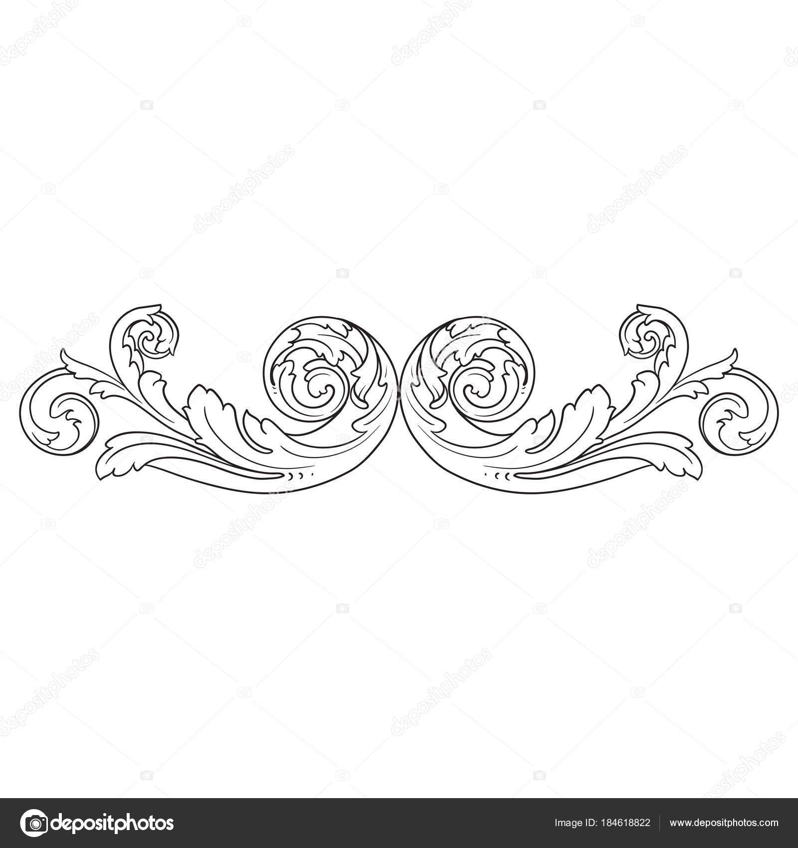 Vintage Barock-Rahmen Gravur Scroll ornament — Stockvektor ...
