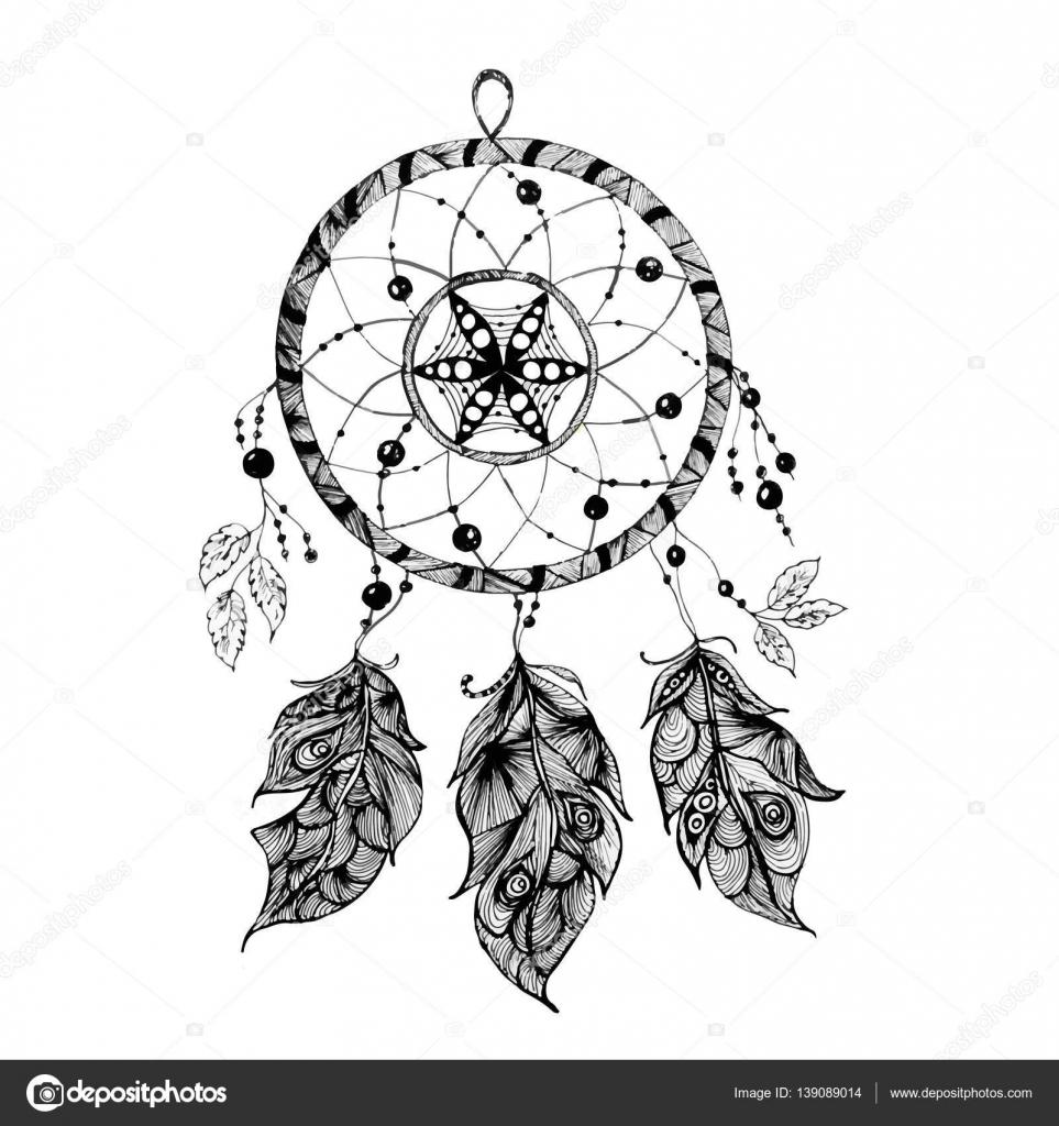 Imágenes Atrapa Suenos Atrapasueños Indio En Un Estilo De Dibujo