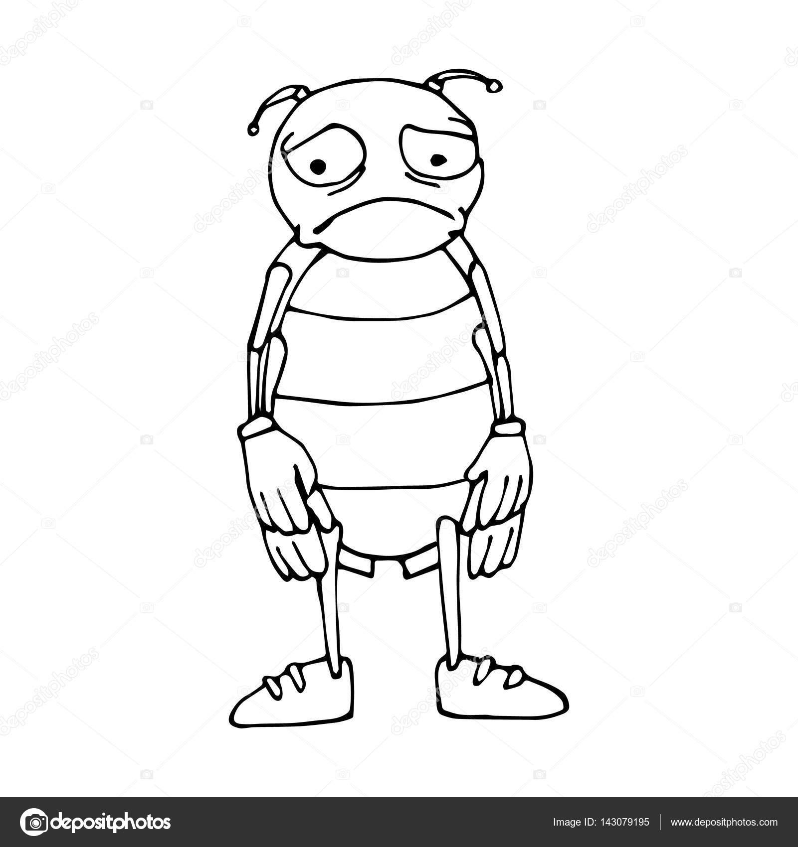 El esquema del escarabajo en estilo de dibujos animados. Bosquejo ...