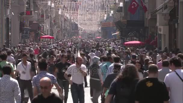 crowded people in Istiklal street in Istanbul, Turkey. March 15, 2015