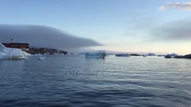 Icebergs on arctic ocean