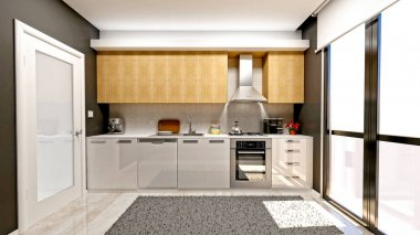 3d render of modern kitchen