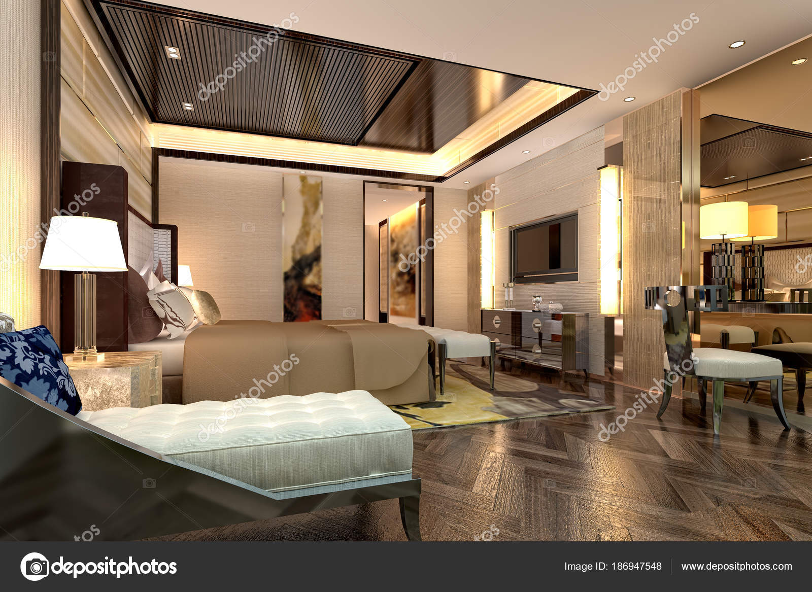 Rendu Chambre Hôtel Luxe — Photographie mtellioglu © #186947548