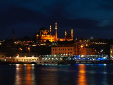 Suleymaniye Mosque view at night in Istanbul, Turkey stock vector