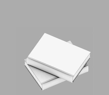 3d render white hard cover books stock vector