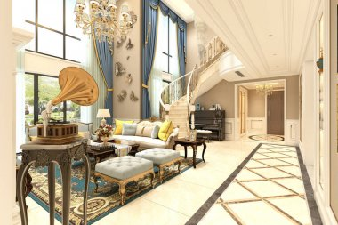 3d render of 360 degrees luxury house interior