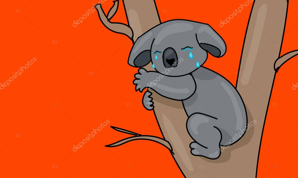Koala Is Crying And Sitting On A Tree Fire In Australia Red Lush Lava Background Natural Disaster Extinction Of Animal Sad And Crying Koala Character And Tears Cartoon Flat Illustration Premium Whether you want to watch classic cartoons from a bygone era, brick films made with your favorite building toys, machinima patched together from video games, or the artful computer animations selected for the 2001 siggraph competition, this library of free animated films and movies has. animal sad and crying koala character
