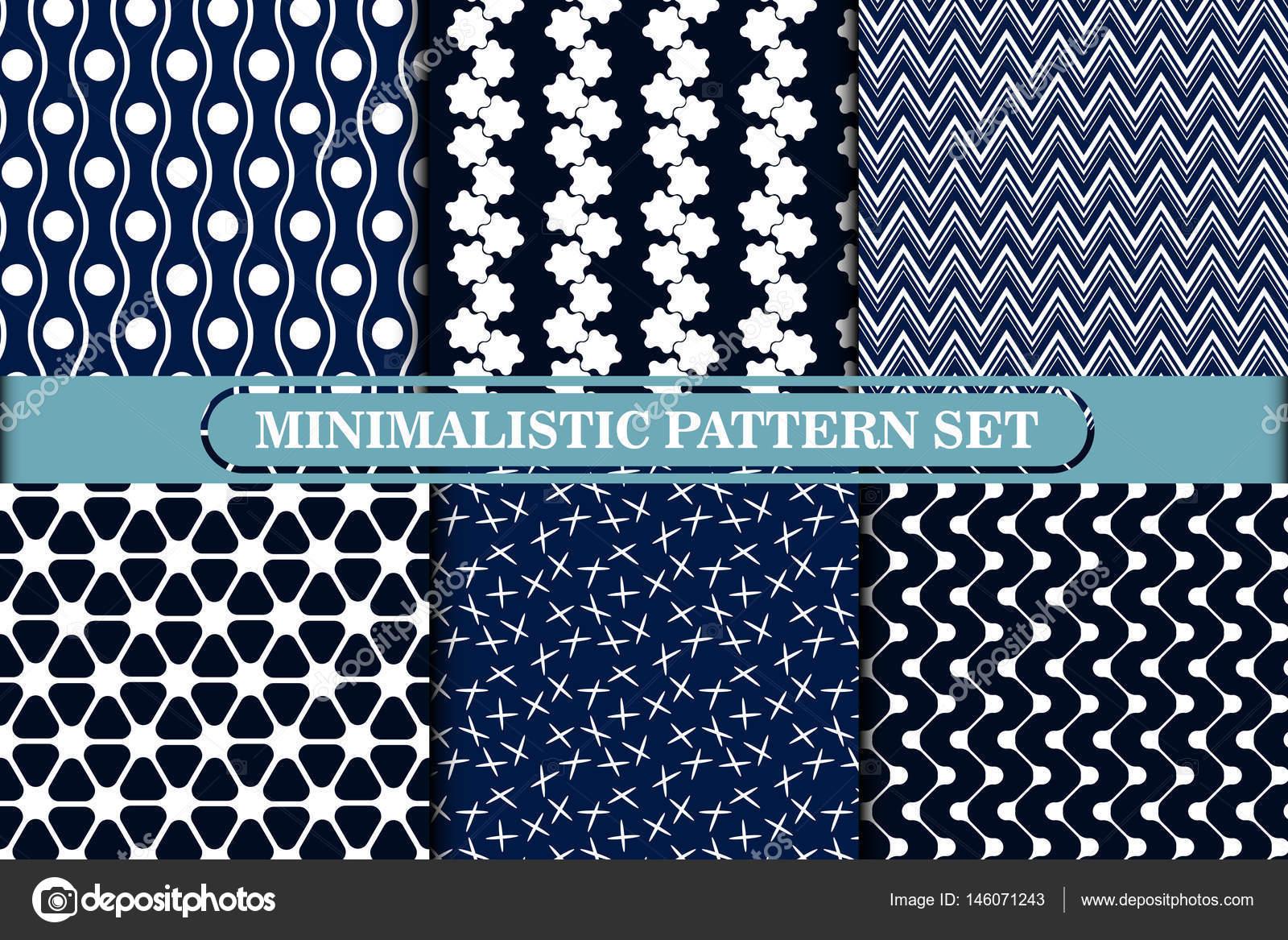 Minimalistische, einfache geometrische nahtlose Muster-Kollektion ...