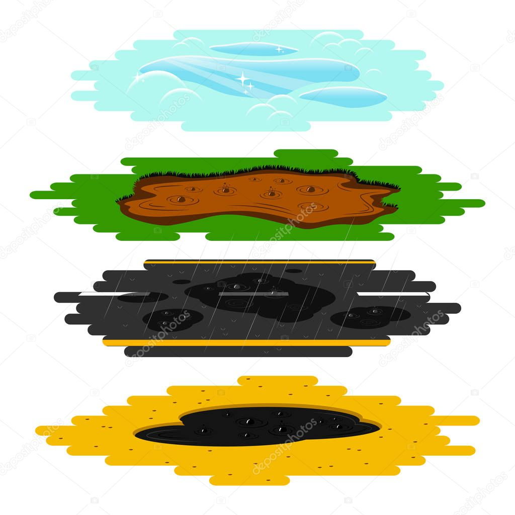 Puddles of different types set.