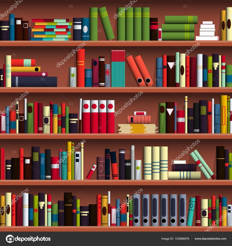 stock illustration Book shelves library seamless pattern