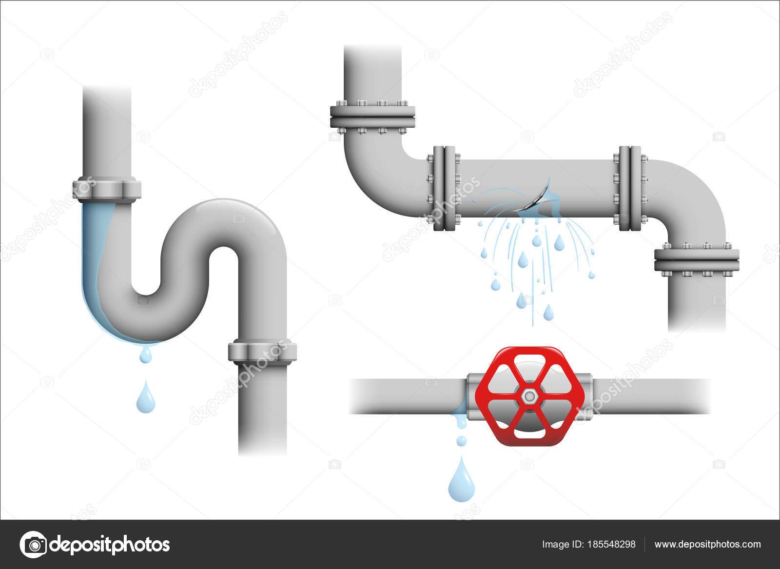 Leaking Pipe Vector Set Stock Vector 169 Cortex