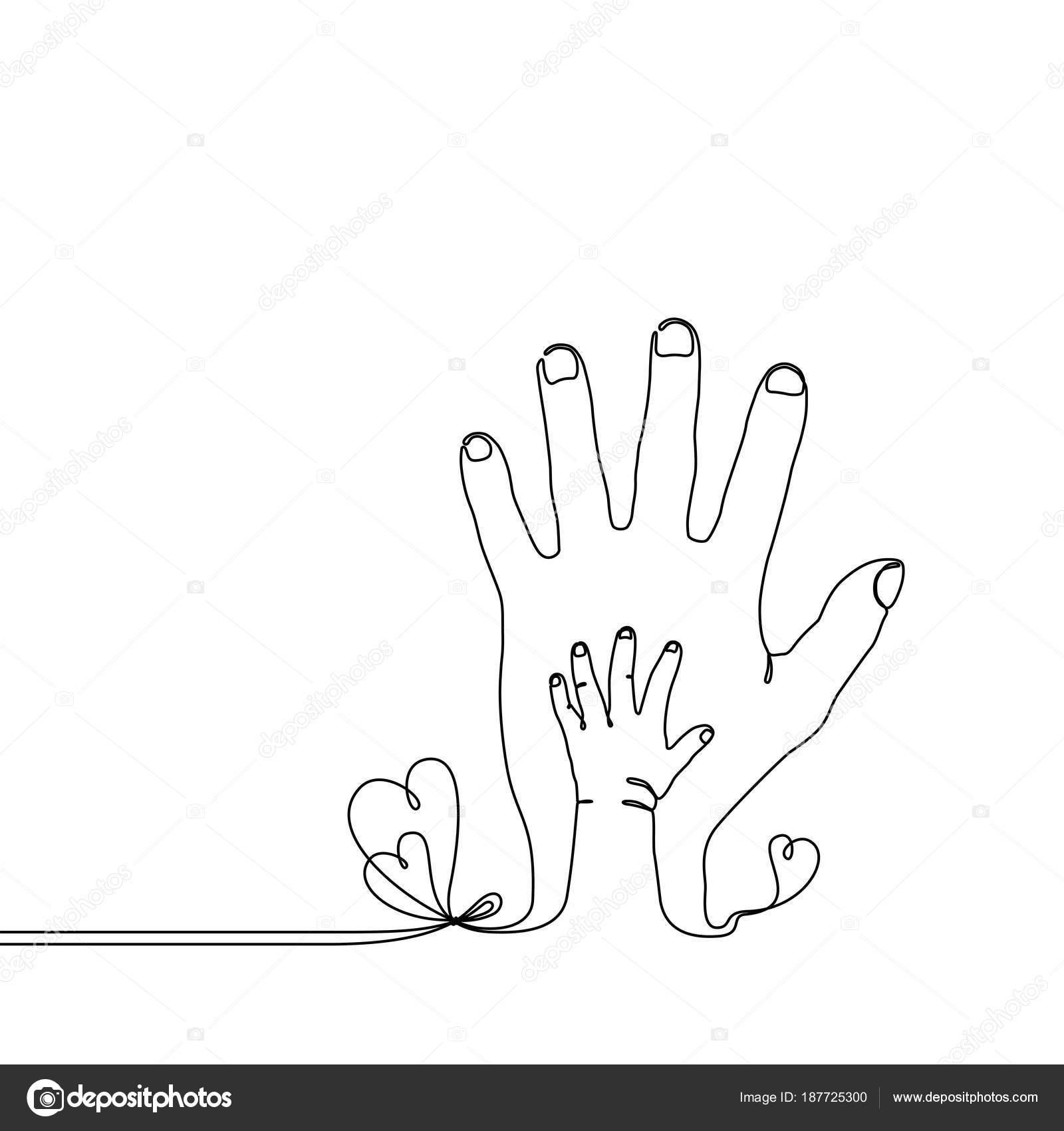 Dessin au trait continu d un enfant de b b la main sur - Dessin main enfant ...