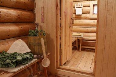 Russian sauna. Interior, bath utensils and accessories.