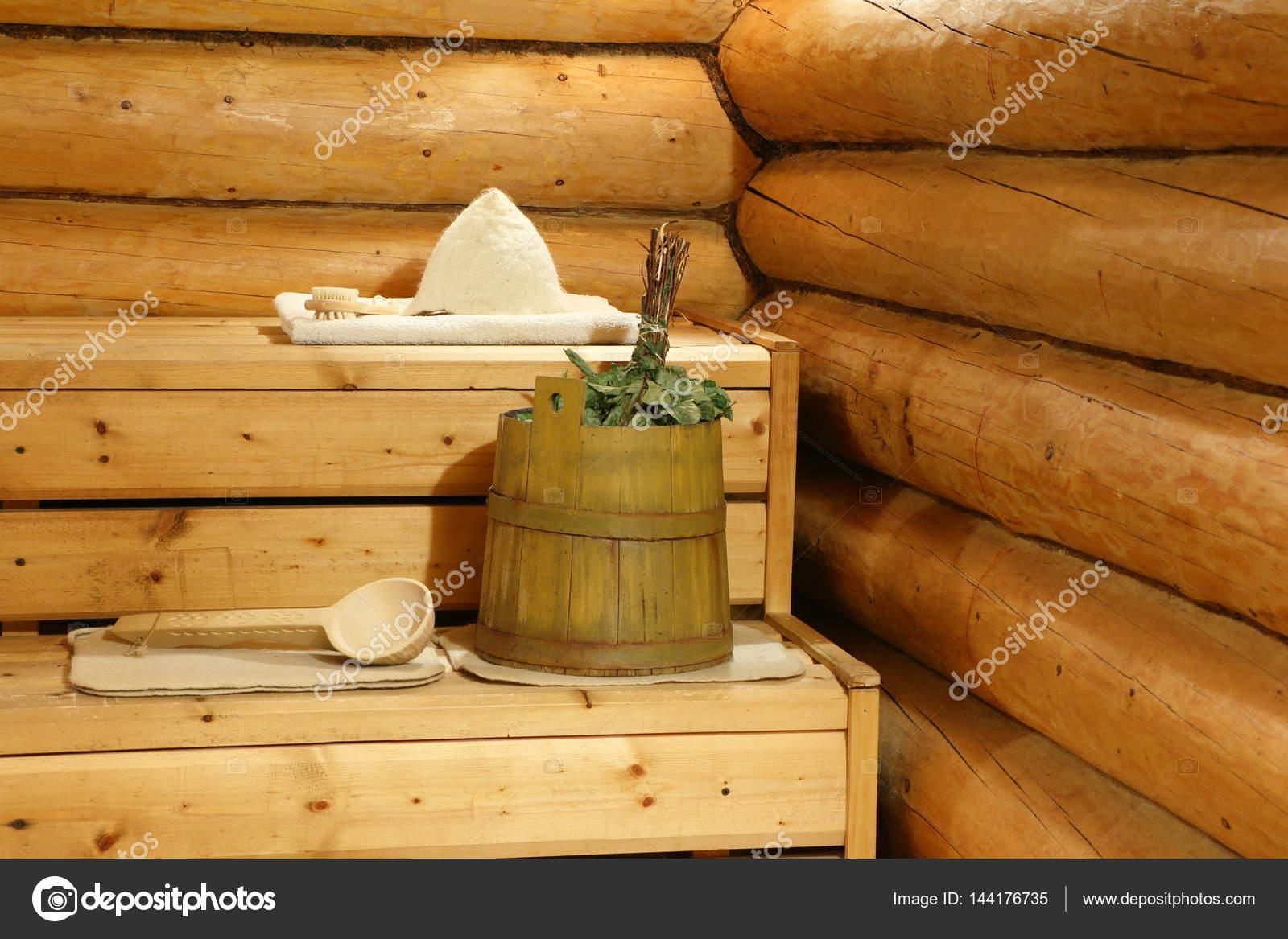 Russische bad hier vindt u het interieur van de stoom kamer en