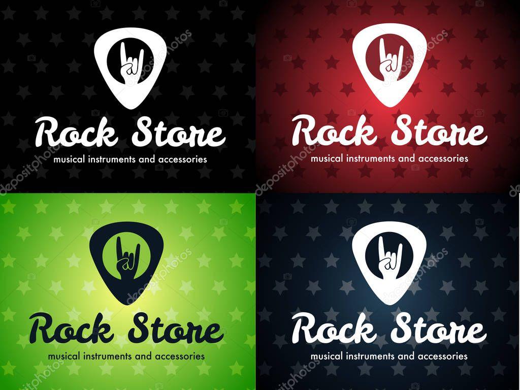 Rock Shop Plektrum Vektor-Logo-set — Stockvektor © vlad.zelinski ...