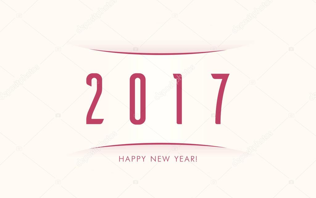 Happy New Year Flat Vector Background 2017 Simple Greeting Card