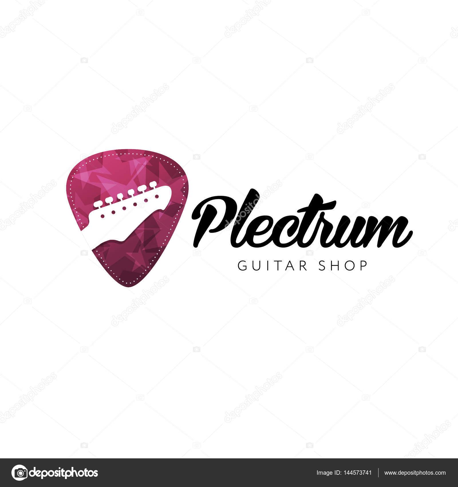Guitar Store Logo Headstocks Isolated Plectrum Shape Stock Vector