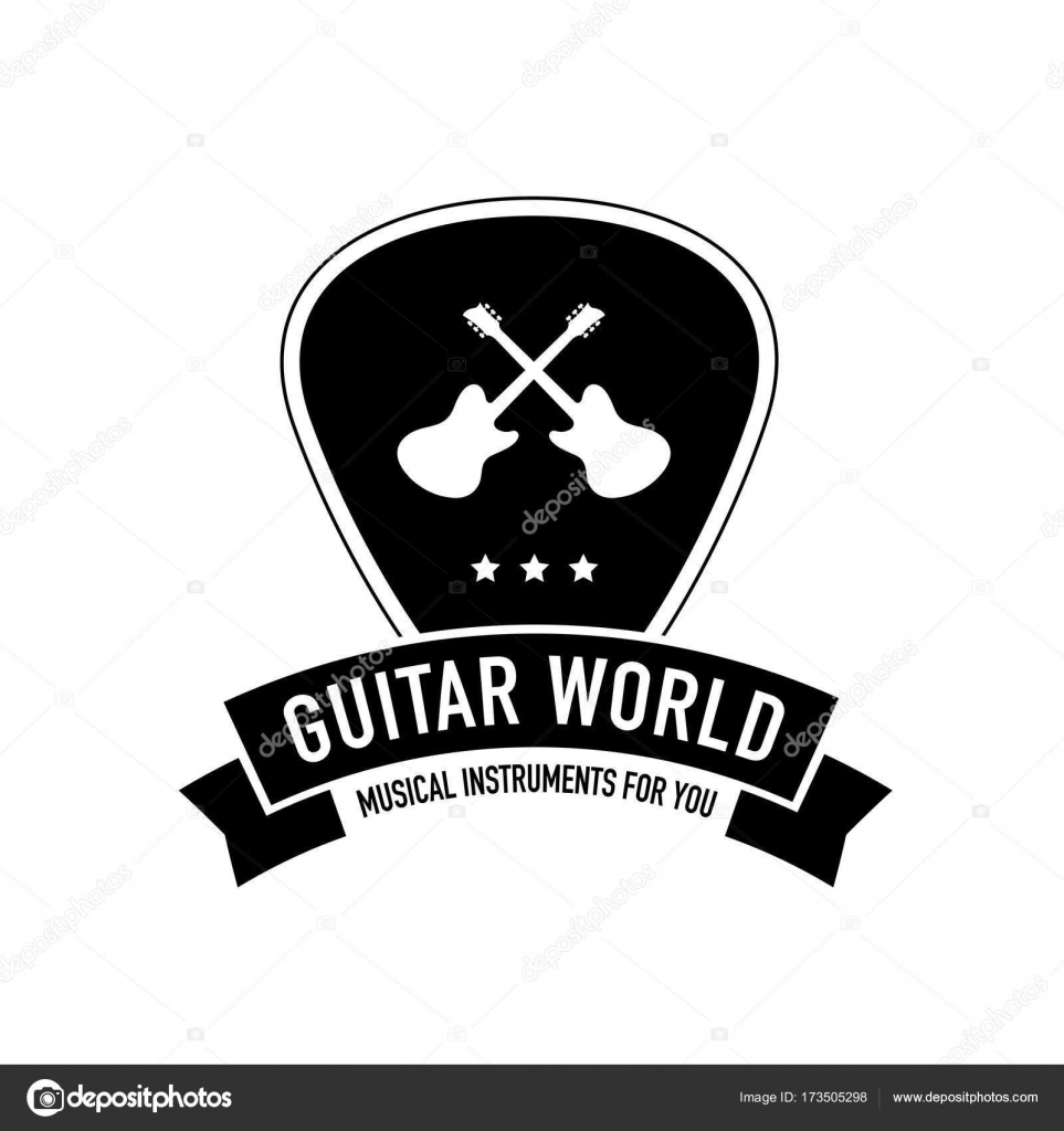Plectrum Shape With Ribbon And Guitar Neck Logo Best For Musical Instruments Shop Music Store Blog Vector By Vladzelinski