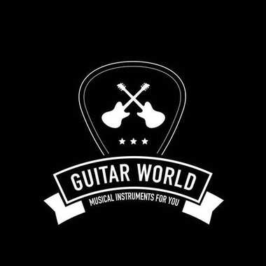 Guitar world music logo plectrum shape with ribbon. Best for musical instruments shop