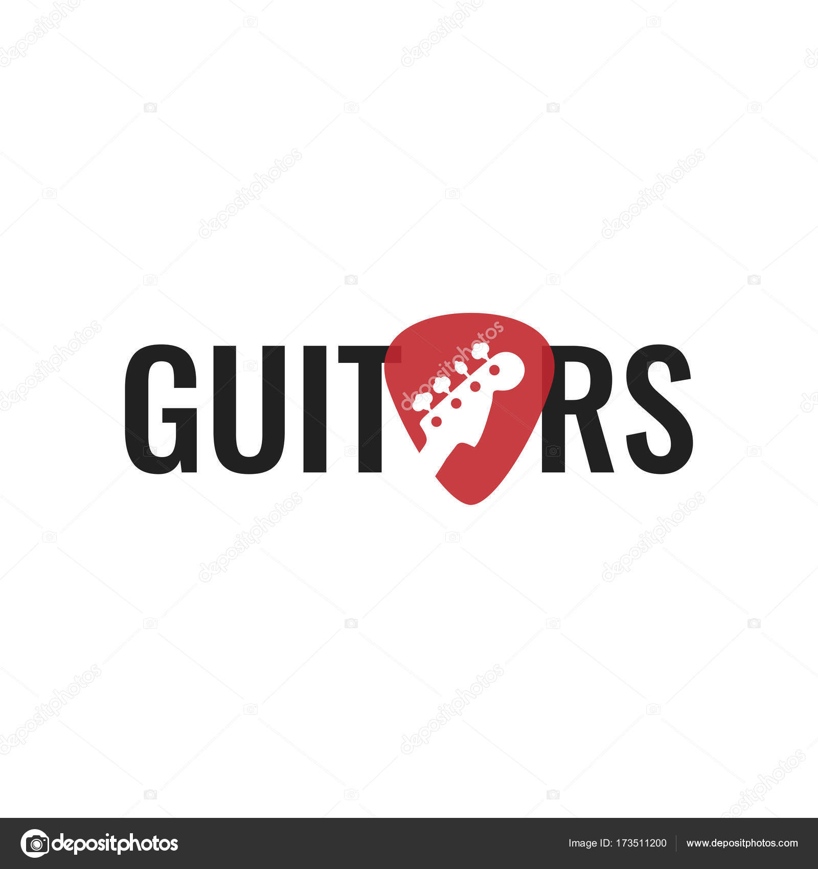 Guitar Music Logo Neck Isolated Plectrum Shape Best For Shop