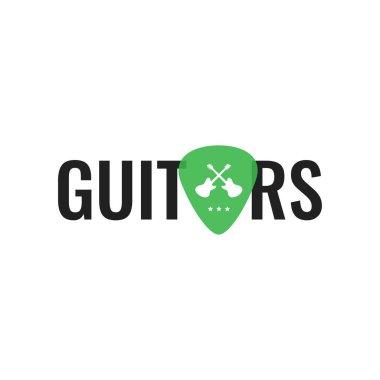 Guitar music logo. Guitar neck isolated plectrum shape. Best for music shop, music blog, music store