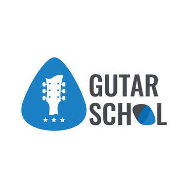 Guitar music logo. Guitar neck isolated plectrum shape. Best for music shop, music blog, music store