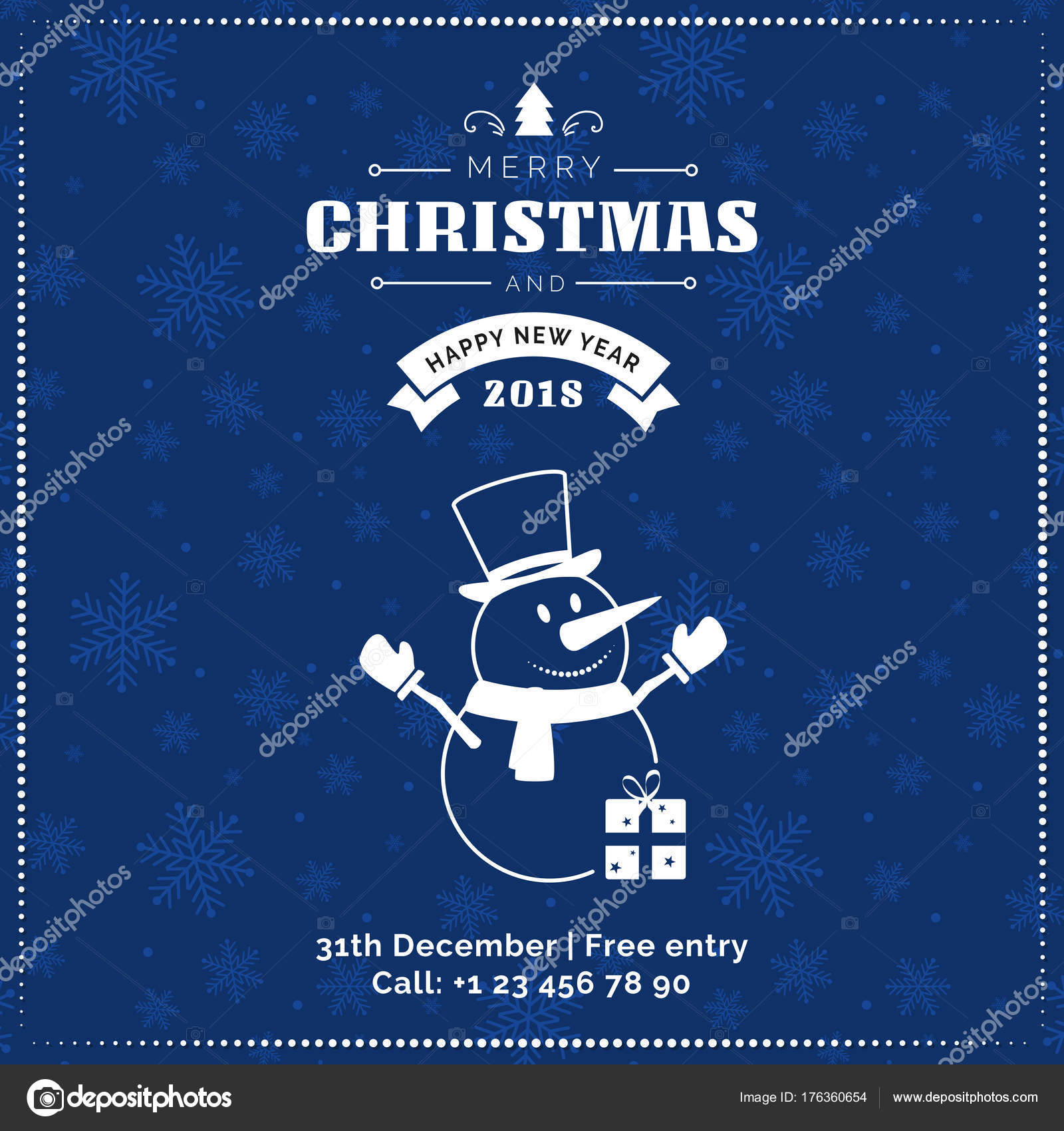 Merry Christmas And Happy New Year Greeting Card Poster Banner