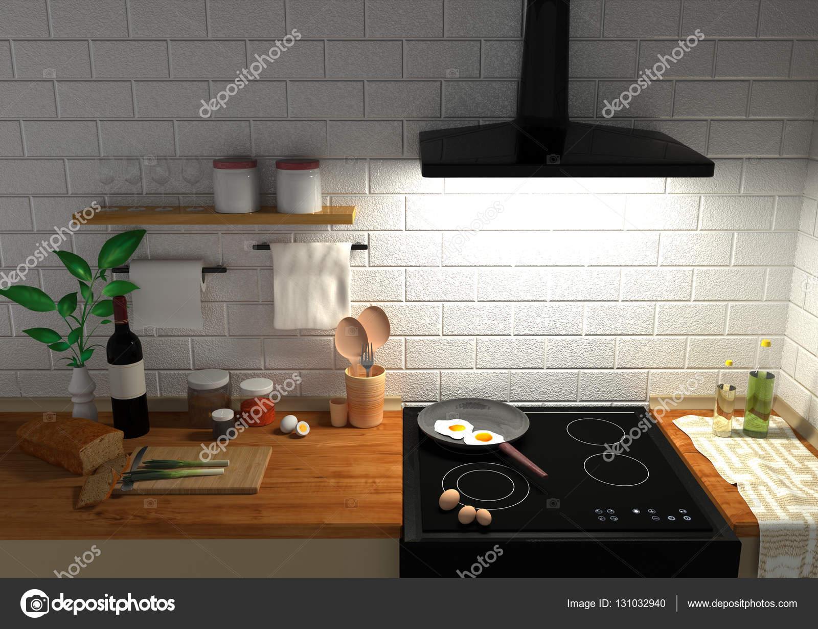 Kitchen Set 3d Rendering Stock Photo Andrija Pajtic Gmail Com