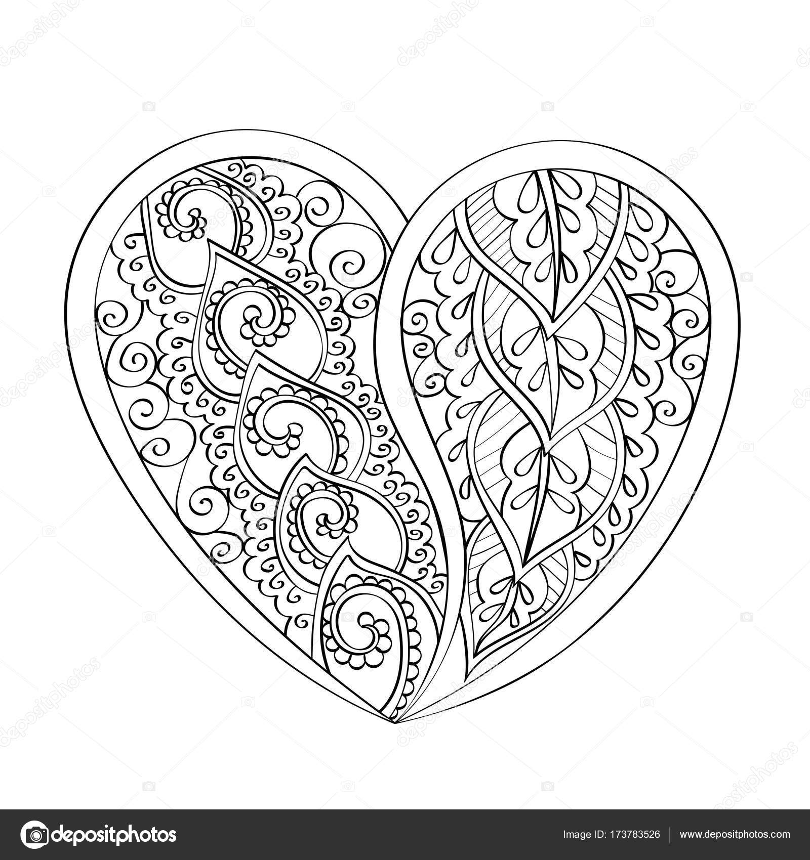 Corazón de vector dibujado a mano mandala, mandala de la página del ...