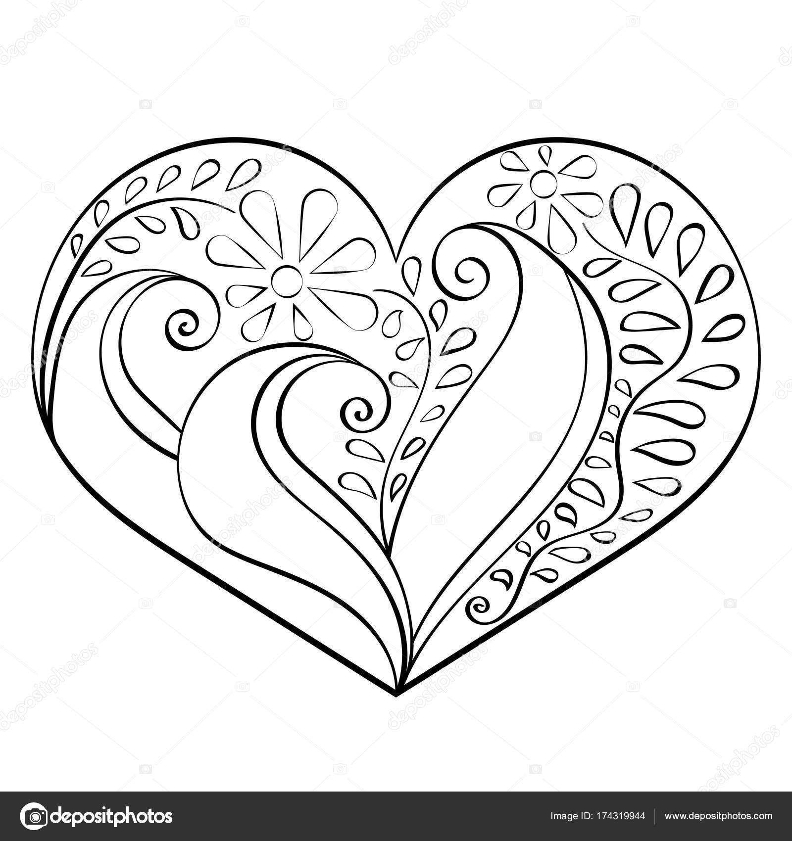 Corazón abstracto dibujado a mano con dibujo de India, vector ...
