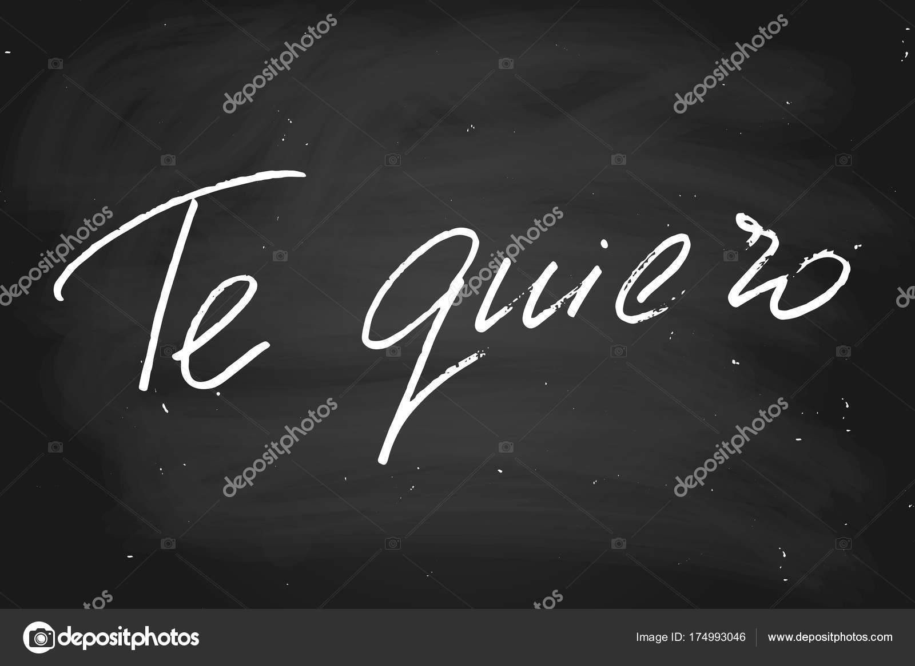 i love you in spanish handwritten text chalk on blackboard ve
