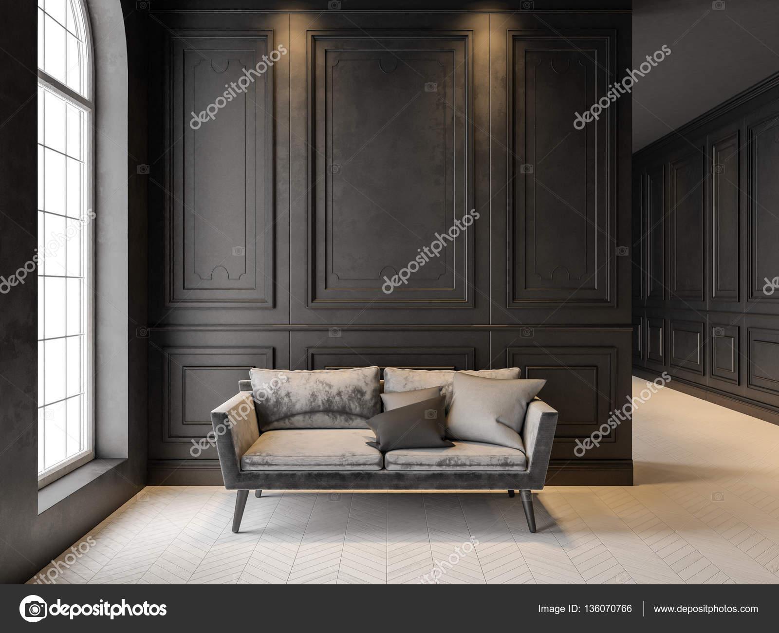 Sofa in klassiek zwart interieur. 3D render mock up — Stockfoto ...
