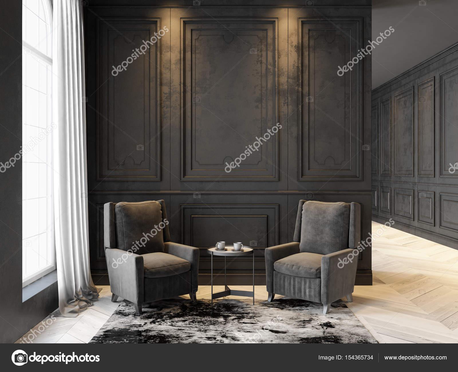 Fauteuils en salontafel in klassiek zwart interieur. Interieur mock ...
