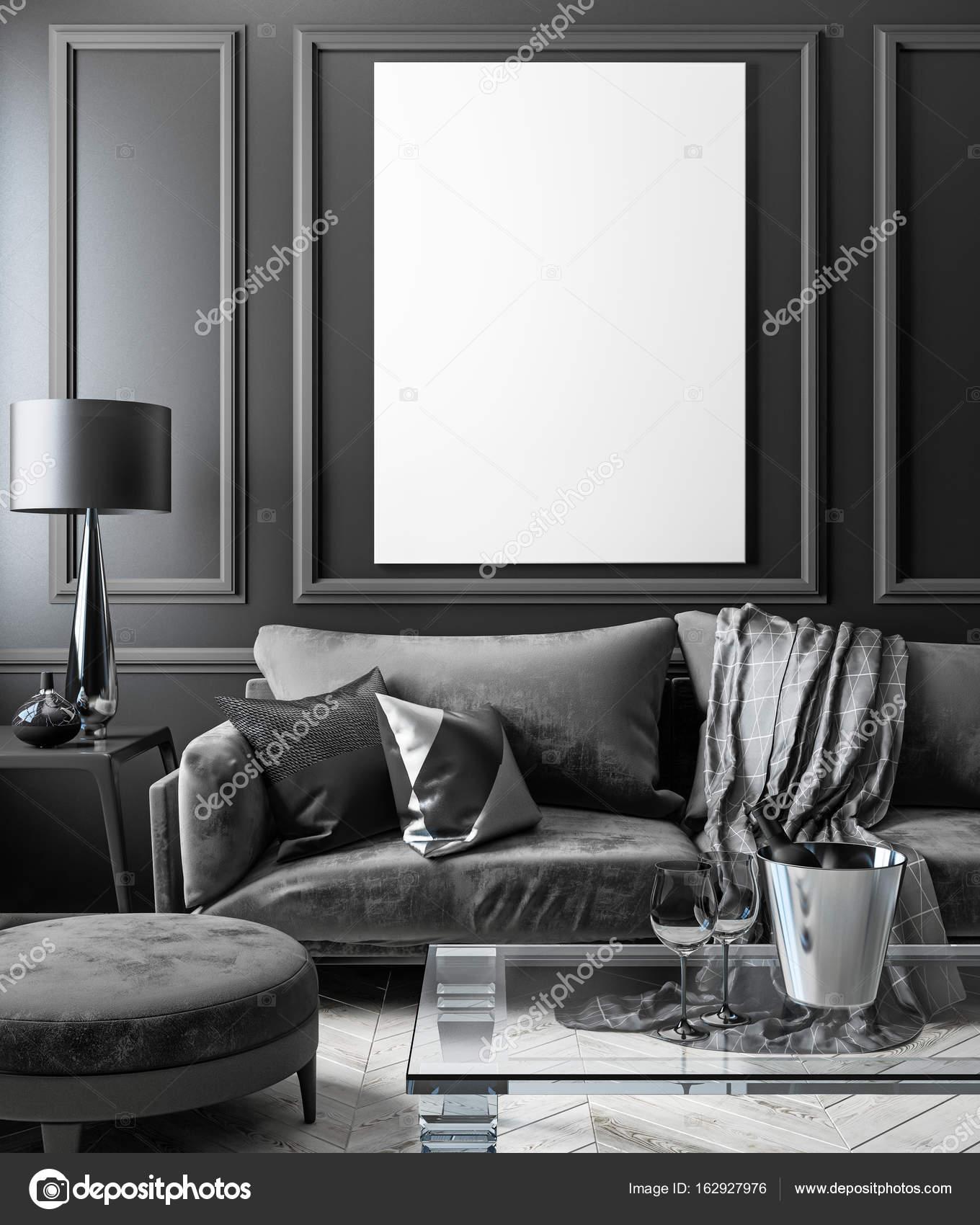 Interior negro clásico imitan para arriba con sofá, mesa de vidrio ...