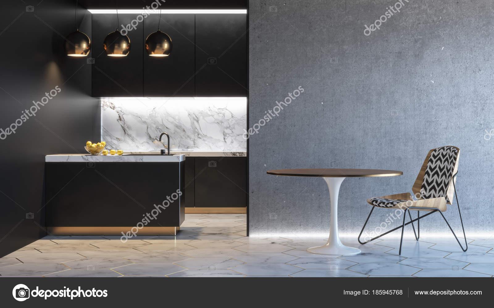 Keuken zwarte minimalistische interieur d render illustratie