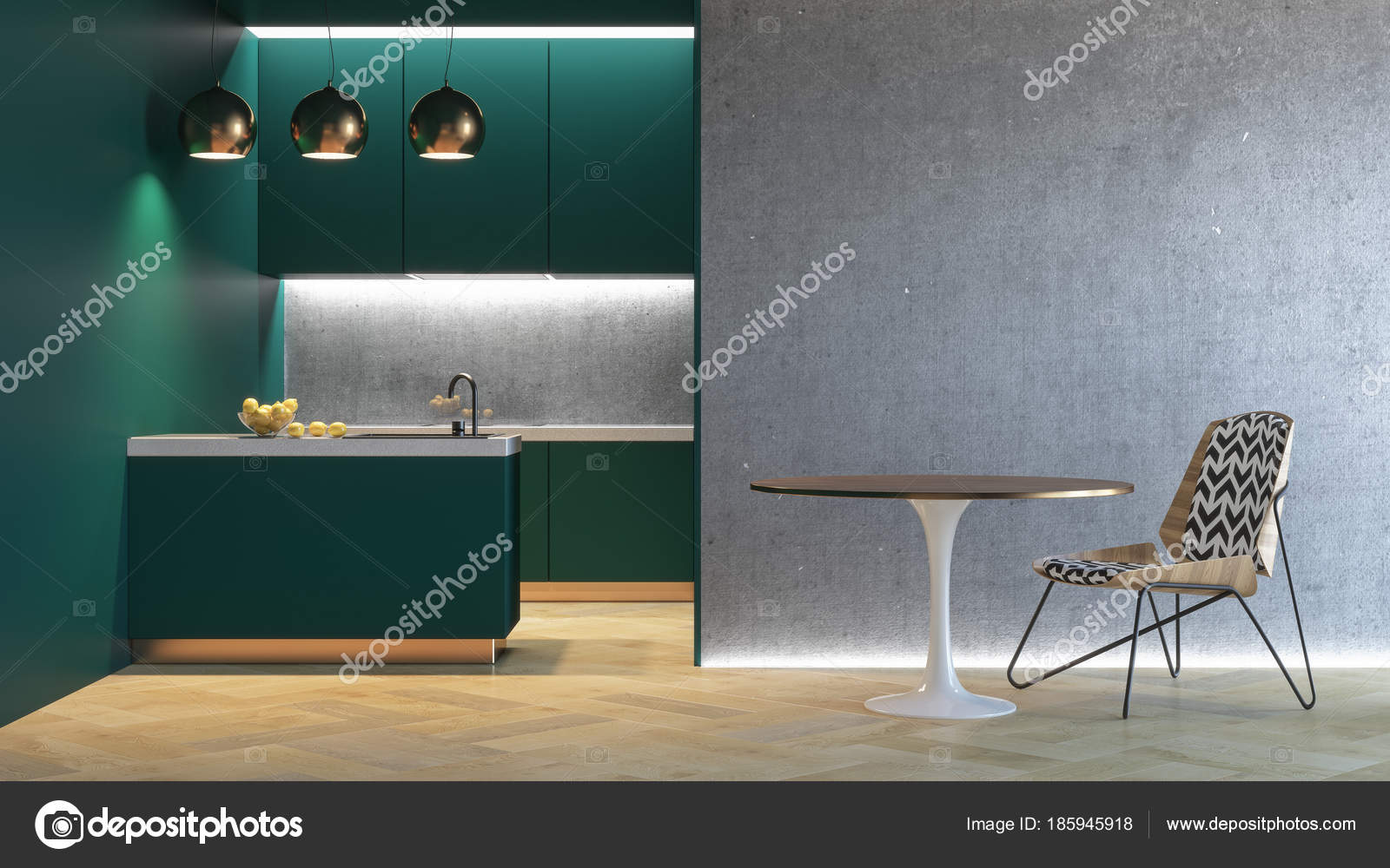 Keuken groene minimalistische interieur d render illustratie