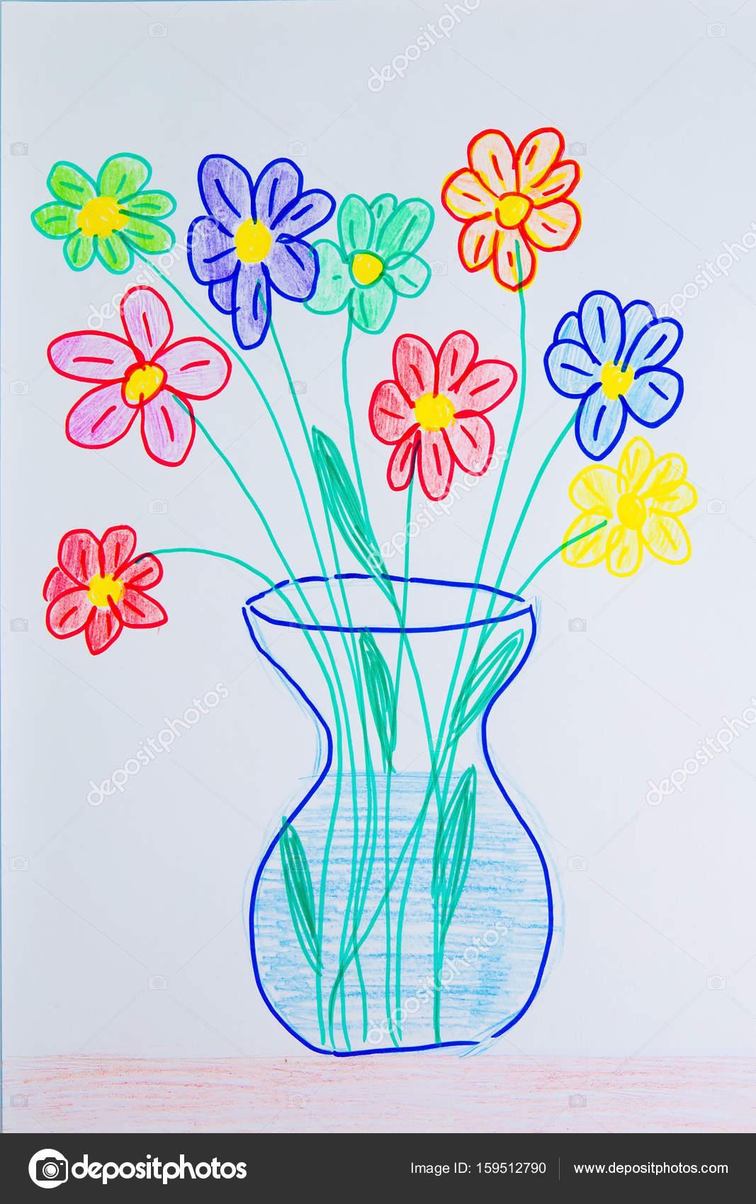 Dessin De L Enfant D Un Vase Avec Des Fleurs Photographie