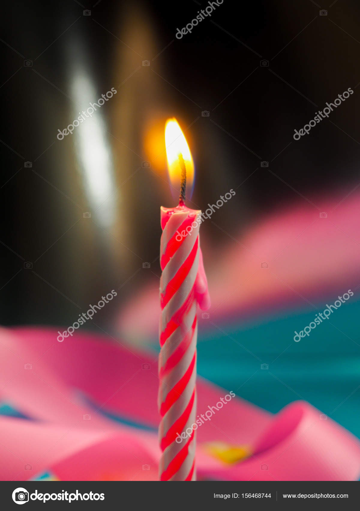 Candle Birthday Burning Background Other Candles Pink Ribbons Festive Atmosphere Stock Photo C Byallasaa 156468744